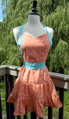Womens UpCycled Apron  Sherbet and Chevrons by DrapesofWrath, $35.00