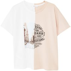 MANGO Printed cotton t-shirt ($30) ❤ liked on Polyvore featuring tops, t-shirts, cotton tee, short sleeve tops, round neck t shirt, print tees and mixed print top