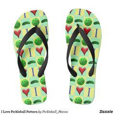 I Love Pickleball Pattern Flip Flops