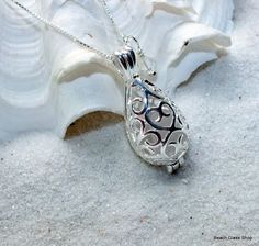 Beach Wedding Tear  Drop Filigree Necklace Sea Glass Beach Glass Lake Erie Cleveland Beaches