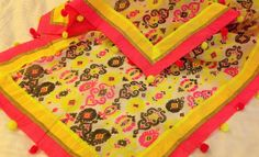 Chanderi dupatta with neon accents .For orders and inquiries, please mail us at naari@aninditacreations.com.  Like our page www.facebook.com/naari.aninditacreations