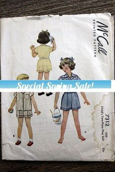 1940s McCall #7312 sewing pattern - Child's #supplies @EtsyMktgTool #40ssewingpattern #40smccall #mccall7312 #40schild's4 #40schild'sshorts