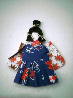 Menino samurai em origami