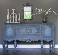 Stormy II, blue gray carved oak buffet, sideboard with dark stained top. Modern Vintage