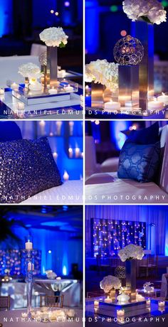 Seriously LOVE the mix of florals with metal with glass with white leather for this Sangeet. AHHH!! Click here for more >>> http://blog.nathanieledmunds.com/2012/10/27/guaravi-amar-sangeet/