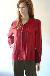 Vintage 1980s Thick Maroon Shirt Size UK 14   eBay