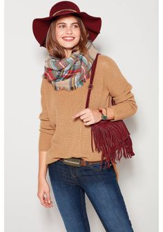 Pulóver s rozparkami #ModinoSK #Univerzal Pull Marron, Boho, Pulls, Plaid Scarf, Ideias Fashion, Sweaters For Women, Womens Fashion, Women's Sweaters, Men And Women