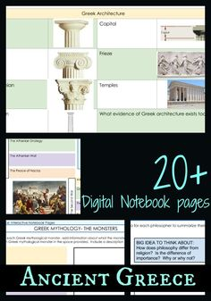 Bring Ancient Greece alive with digital interactive notebook pages. I use these with hands-on activities. History Education, History Class, Teaching Secondary, Social Studies Classroom, Student Engagement, Creative Teaching, Hands On Activities, Interactive Notebooks, Ancient Greece