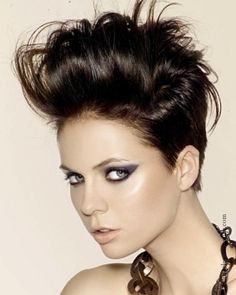 Dapper Short Rocker Hair Styles on We Heart It Short Pompadour, Pompadour Hairstyle, My Hairstyle, Pompadour Style, Hairstyle Ideas, Prom Hairstyles For Short Hair, Short Hair Cuts, Short Hair Styles, Edgy Hairstyles