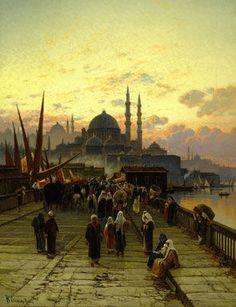 Hermann Corrodi, The Galata Bridge, Constantinople