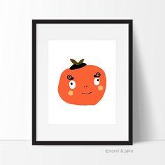 Orange art Print Nursery Art Printable Illustration by somiandjake Digital Art Printables, Illustration, Wall Art, Orange Art, New Print, Art Girl, Pastel Nursery Art, Art, Illustration Print