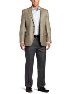 Joseph Abboud Men's 2 Button Side Vent Sport Coat, Olive, 42 Medium/RegularMade in the usa - 2 button, side vent light olive plaid sport coat