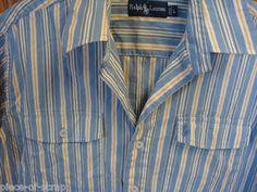 RALPH LAUREN POLO Shirt L LARGE Blue White Stripe Button Front S/S Dress Cotton #ralphLauren #polo #ebay #forsale