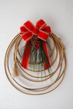 Christmas rope wreath - put on the fence posts Western Christmas, Country Christmas, Christmas Holidays, Christmas Ornaments, Wreaths And Garlands, Holiday Wreaths, Holiday Crafts, Wreath Crafts, Diy Wreath