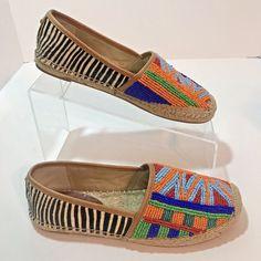 444c0fdf8099a7 Sam Edelman Espadrille Shoes Tribal Beaded Sz 6M Striped Women Fur EU 36  Leather  SamEdelman