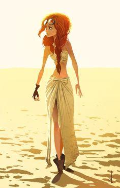 Girl who travels the desert.: