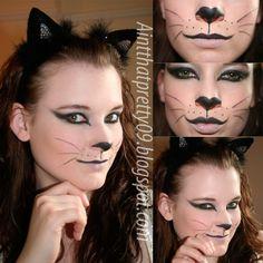 Simple Cat Makeup for Halloween Cat Face Paint Easy, Black Cat Face Paint, Kitty Face Paint, Cat Halloween Makeup, Maquillaje Halloween, Halloween Make Up, Pretty Halloween, Cat Faces For Halloween, Halloween Halloween