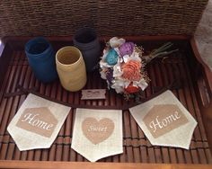Home Sweet Home embroidered burlap banner by GramsCozyCorner, $26.00