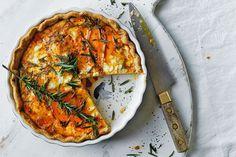 Sweet potato, feta and caramelised onion quiche - Recipes - delicious.com.au