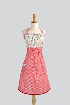 cute red retro apron $35