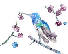 BlueViolet Hummingbird Print Hummingbird by LightheartedDreamer