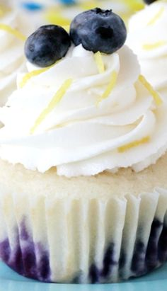 Lemon Blueberry Cupcakes ~  The moistest cupcakes eve... they will rock your socks off!
