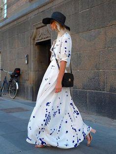 White Splash Print Shirt Collar Maxi Dress