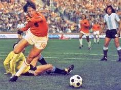Johann Cruyff opens the scoring for the Dutch against Argentina at the 1974 World Cup.