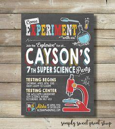 Super Science Boy Birthday Party Invite Invitation Experiment Microscope Beaker Test Tube Periodic Table Scientist Red Orange Chalkboard DIY