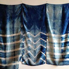arc-of-a-diver:  silk, shibori died, indigo scarves