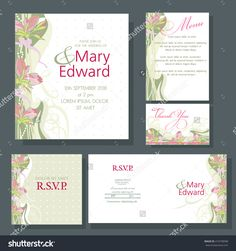 Wedding invitation with red canvas. Design of the RSVP, Menu