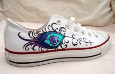 Hand Painted Converse  Peacock Feather Design  Low Tops by Marleed