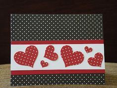 hand made Vlentine/heart crd from My Paper Paradise …: Not a stamp in sight … red, white and blacke … polka dots … punched hearts … geat card … Source Related Cricut Cards, Stampin Up Cards, Valentine Love Cards, Handmade Valentines Cards, Valentine Nails, Valentine Ideas, Valentine Heart, Karten Diy, Cute Cards