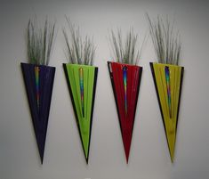Colored Glass Wall Art | Wall Vases - Hanging Vases - Simply Decor