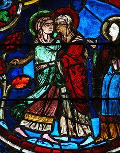 Notre-Dame de Laon, verrière droite du choeur: les préfigures de la Vierge et la vie de la Vierge. 1er quart du 13ème siècle, restaurée après l'explosion de 1870. La Visitation.
