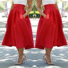 Red Long skirt, high waist