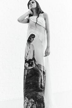 Luke Skywalker Star Wars print dress at Rodarte AW14 NYFW. More images at: http://www.dazeddigital.com/fashionweek/womenswear/aw14