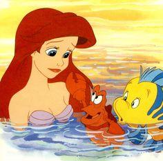 The Little Mermaid - Ariel, Sebastian & Flounder Disney Little Mermaids, Mermaids And Mermen, Disney Love, Disney Magic, Walt Disney, Disney Stuff, Disney Films, Disney And Dreamworks, Disney Cartoons