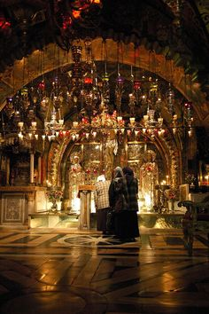 :Golgotha (Church of the Holy Sepulchre) ~ The Altar of the Crucifixion ~ where Jesus was crucified.