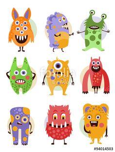 Вектор: Funny Emotional Cartoon Monsters, Vector Illustration Set