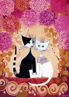 Two smiling cats - looking like a bride & groom - pose under a colorful red and pink flower archway. piece puzzle featuring art from reknown Austrian artist Rosina Wachtmeister. Wal Art, Smiling Cat, Illustration Art, Illustrations, Cat Cards, 5d Diamond Painting, Black And White Abstract, Drawing Skills, Easy Paintings