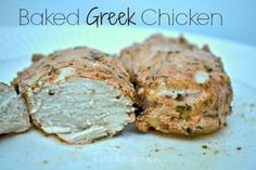 A delicious and healthy dinner!  This baked Greek Chicken is made with homemade Greek seasoning and yogurt