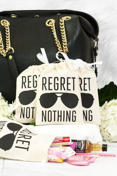 Black Aviator Regret Nothing! Hangover Kit Bags Bachelorette Party Hangover Relief Bags - Regret Nothing Bachelorette Party Planning, Vegas Bachelorette, Bachelorette Party Gifts, Bachelorette Shirts, Bridal Parties, Bachelorette Hangover Kits, Bachelorette Survival Kits, Bachelorette Checklist, Hangover Kit Wedding