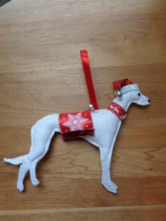 Handmade White felt Christmas Whippet, Greyhound, Lurcher type dog hanging decoration by CraftyBunnyDog on Etsy