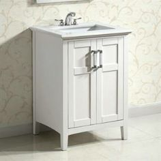 """Check out the Simpli Home NL-WINSTON-WH-24 Winston 24"""" Bath Vanity in White priced at $699.99 at Homeclick.com."""