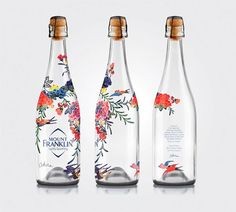 This bottle design is so exquisite. The illustration on the bottle look delicate and the use of watercolor is superb. I am trying to incorporate clear labels on my packaging design because I believe this gives the product a very high end/expensive look. Water Packaging, Cool Packaging, Beverage Packaging, Bottle Packaging, Brand Packaging, Packaging Boxes, Kombucha, Wine Bottle Design, Little Buddha