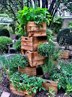 Love this vertical garden made of stacked crates.