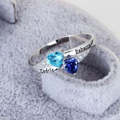 Personalized Engrave #Name DIY Birthstone Love Promise #Ring 925 Sterling #Silver #Heart Rings