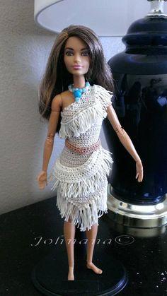 Pocahontas Outfit, Barbie Patterns, Doll Clothes Patterns, Clothing Patterns, Crochet Barbie Clothes, Crochet Dolls, Disney Princess Outfits, Liv Dolls, Native American Dolls