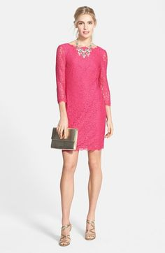 Adrianna Papell Long Sleeve Lace Sheath Dress & Accessories  available at #Nordstrom